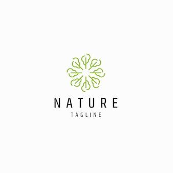 Abstracte natuur boom blad logo pictogram ontwerp sjabloon platte vector