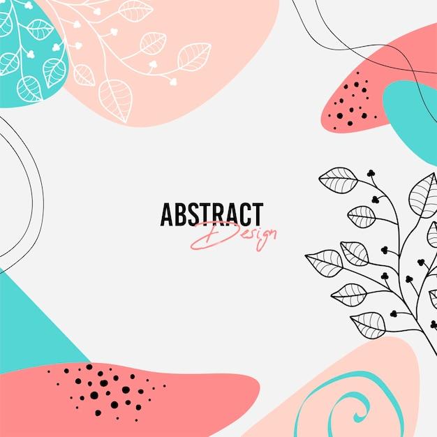Abstracte natuurlijke achtergrond in de stijl van memphis met bloemen