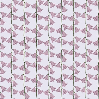 Abstracte natuurlijke creatieve naadloze patroon met bleke tinten paarse bell bloemen vormen. pastelblauwe achtergrond. platte vectorprint voor textiel, stof, cadeaupapier, behang. eindeloze illustratie.