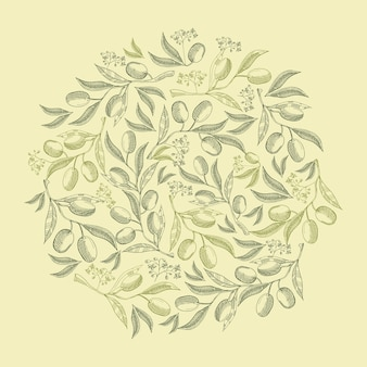 Abstracte natuurlijke vintage groene ronde samenstelling