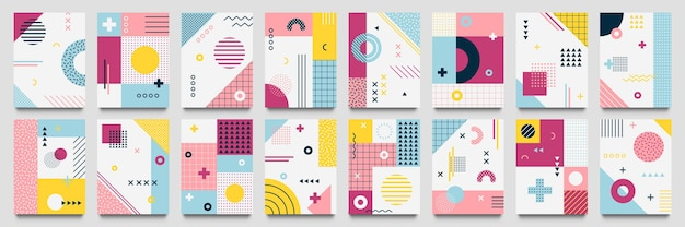 Abstracte neo memphis achtergrond. moderne geo raster poster sjabloon met 1980 lijnen textuur en gestippelde pop patroon set.
