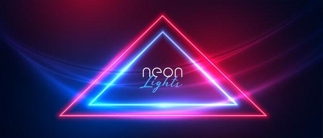 Abstracte neondriehoek met de achtergrond van golflichten