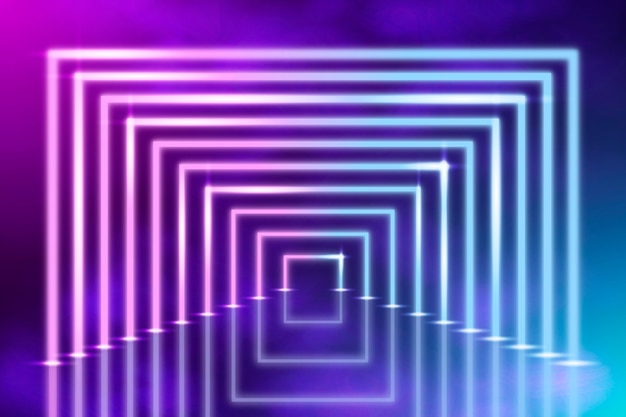 Abstracte neonlichtenachtergrond met half vierkant