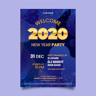 Abstracte nieuwe jaar 2020 partij folder sjabloon