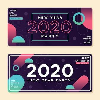 Abstracte nieuwe jaar 2020 partijbanners Gratis Vector
