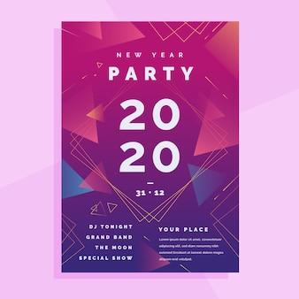 Abstracte nieuwe jaar 2020 partijflyer