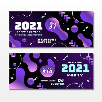 Abstracte nieuwe jaar 2021 feestbanners