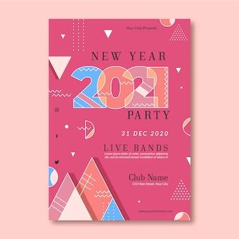Abstracte nieuwe jaar 2021 partij sjabloon folder