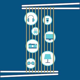 Abstracte noedels op eetstokjes met pictogram plat ontwerp.