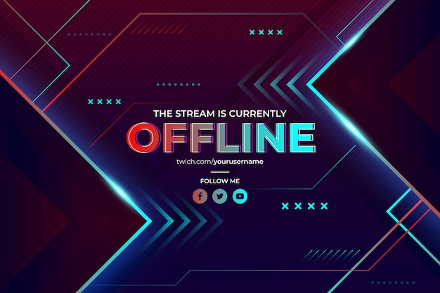 Abstracte offline twitch-banner in gamerstijl