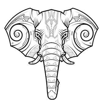 Abstracte olifant hoofd in techno tekening stijl.