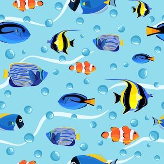 Abstracte onderzeese naadloze patroon. kinderen achtergrond. vissen onder water met bubbels. patroon van vis voor textielstof of boekomslagen, behang, design, grafische kunst, verpakking