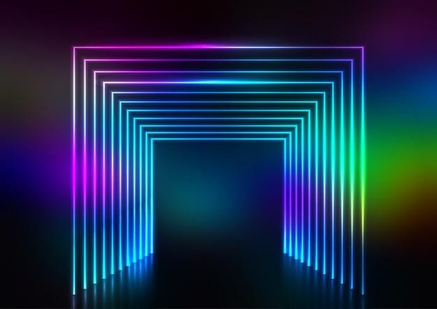 Abstracte ontwerpachtergrond met neon tunneleffect