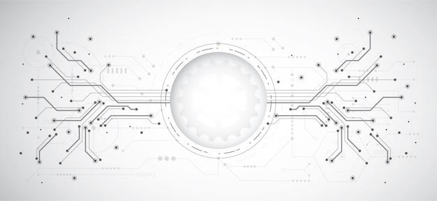 Abstracte ontwerpachtergrond met technologiepunt en lijn
