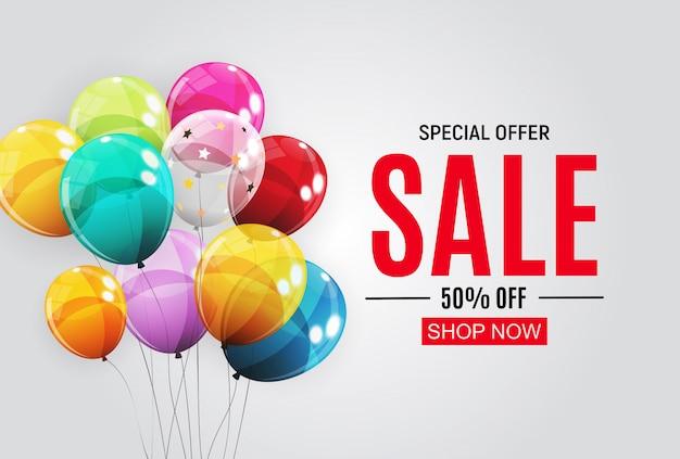 Abstracte ontwerpen verkoop sjabloon met ballonnen. illustratie