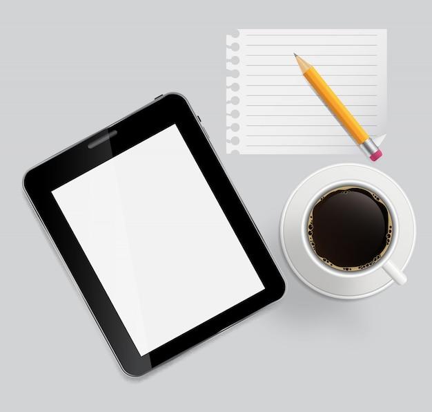 Abstracte ontwerptablet, koffie, potlood, lege pagina op planken bac