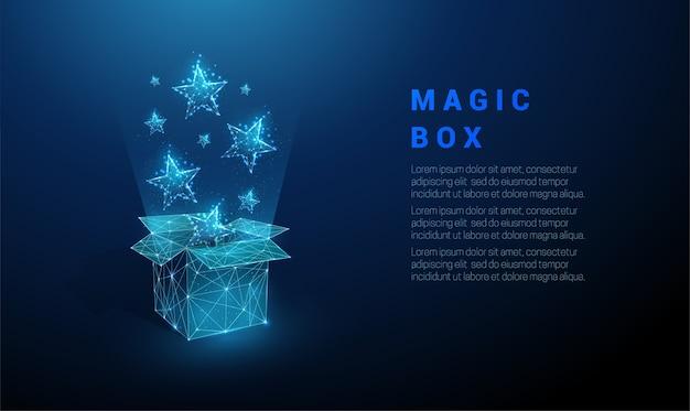Abstracte open geschenkdoos en vliegende blauwe sterren.