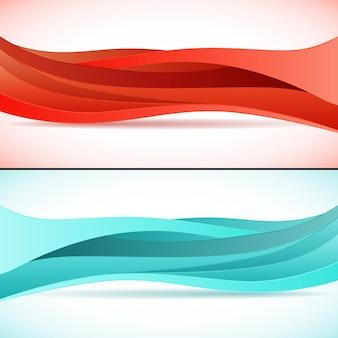 Abstracte oranje en blauwe golven achtergronden instellen. moderne, technische, creatieve lay-outsjabloon. eps 10 vectorillustratie, transparantie en gebruikte hellingen