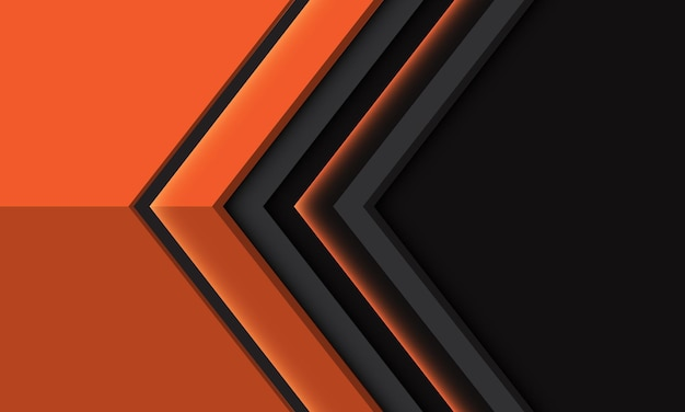 Abstracte oranje pijlrichting geometrisch op grijs metaal met lege ruimteontwerp moderne futuristische illustratie als achtergrond.