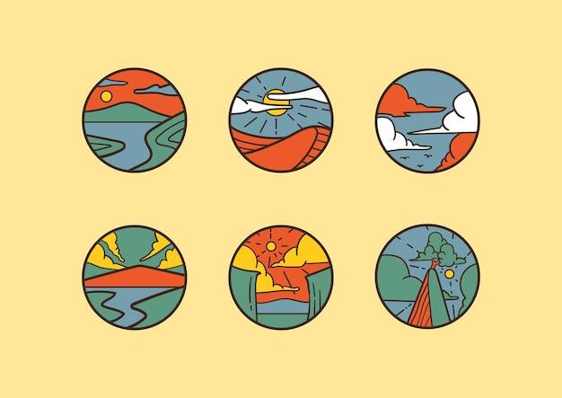Abstracte organische avontuur elliptische badge met handgetekende illustratie en pastel vintage kleur