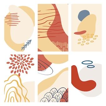 Abstracte organische vorm en hand tekenen lijn achtergrond instellen in pastelkleuren. moderne collage voor posters, verhalen op sociale media. vectorillustratie in trendy stijl abstract ontwerp met ruimte voor tekst.