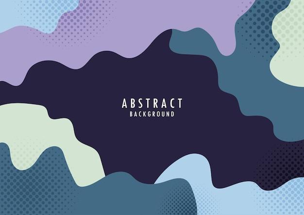 Abstracte organische vorm met kleurrijke halftone ontwerpsjabloon