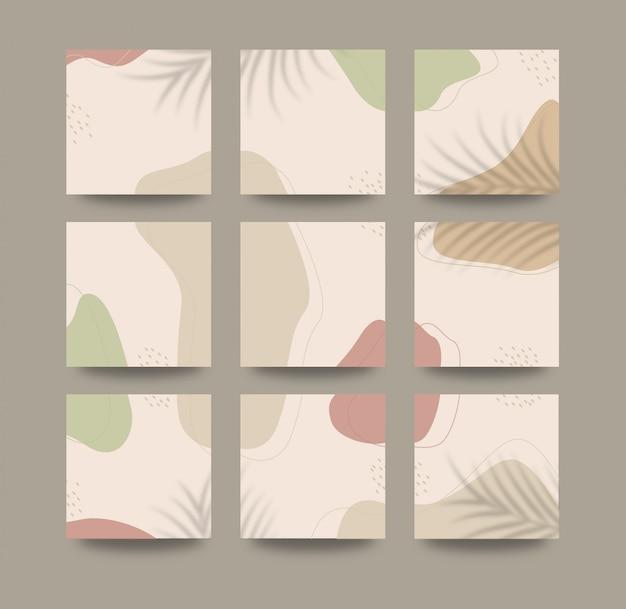 Abstracte organische vormen achtergrond voor sociale media raster puzzel postsjabloon