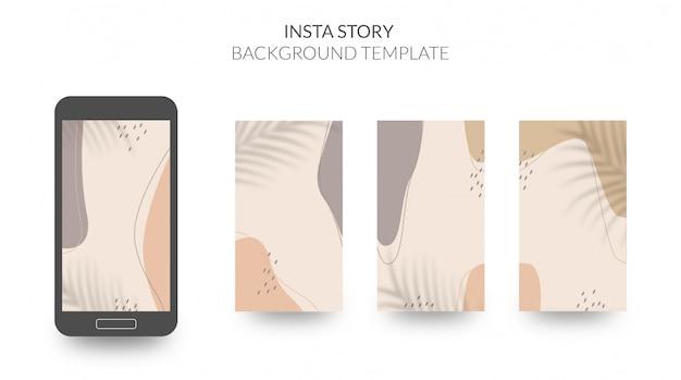 Abstracte organische vormen achtergrond voor sociale media verhaalsjabloon met zachte aardse kleuren Premium Vector