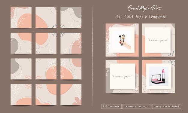 Abstracte organische vormenachtergrond voor sociale media en instagram in rasterpuzzel postmalplaatje