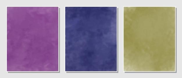 Abstracte paarse, blauwe en gele set aquarellen achtergrond.