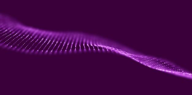 Abstracte paarse deeltjesachtergrond stroomgolf met stiplandschap digitale gegevensstructuur