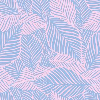 Abstracte paarse jungle print. exotische plant. tropische patroon, palmbladeren naadloze vector floral achtergrond.