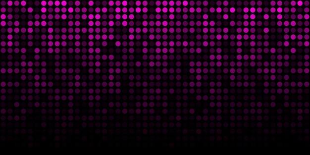 Abstracte paarse technologie horizontale lichtgevende achtergrond. kleurovergang roze digitale gloed pixel cirkel structuurpatroon. vector illustratie.