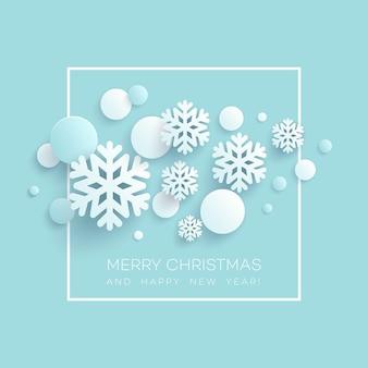 Abstracte papercraft sneeuwvlokken kerstmis achtergrond. vector illustratie eps10