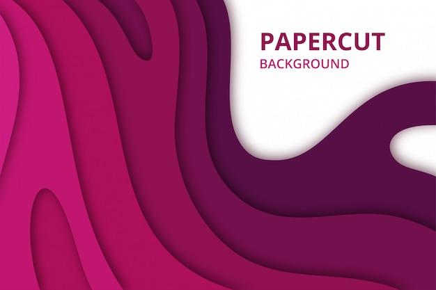 Abstracte papercut achtergrond in roze paarse kleur