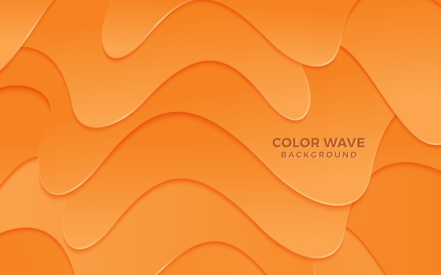 Abstracte papercut achtergrond oranje golf overlappende chocolademousse