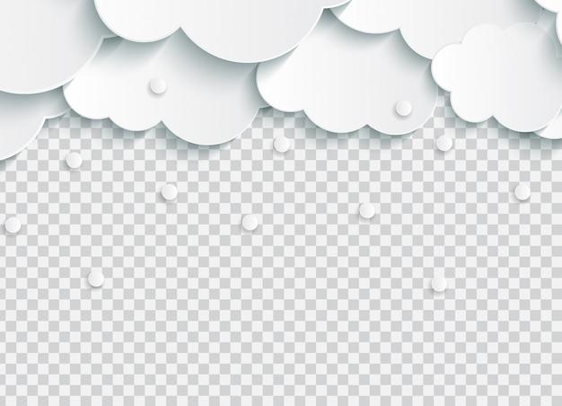 Abstracte papier wolken met sneeuwvlokken op transparant