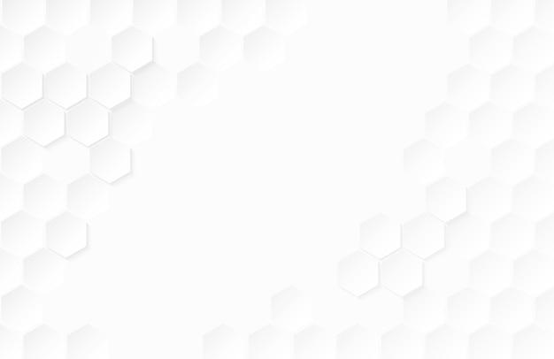 Abstracte papier zeshoek witte achtergrond.