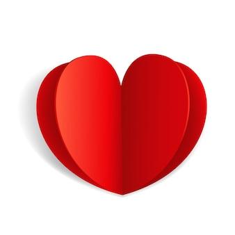 Abstracte papieren origami valentines wenskaart. valentines hart geïsoleerd op een witte achtergrond