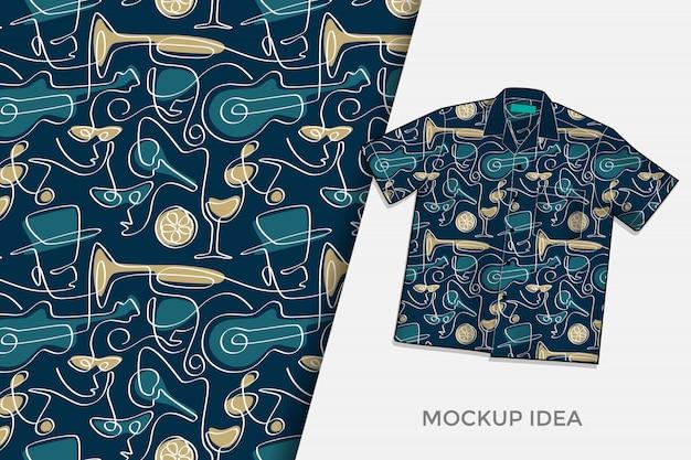 Abstracte partij doodles naadloze patroon tshirt ontwerpsjabloon