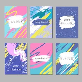 Abstracte partijkaart met de slagen van de pastelkleurkunstborstel. creatieve vector achtergronden verzameling voelde