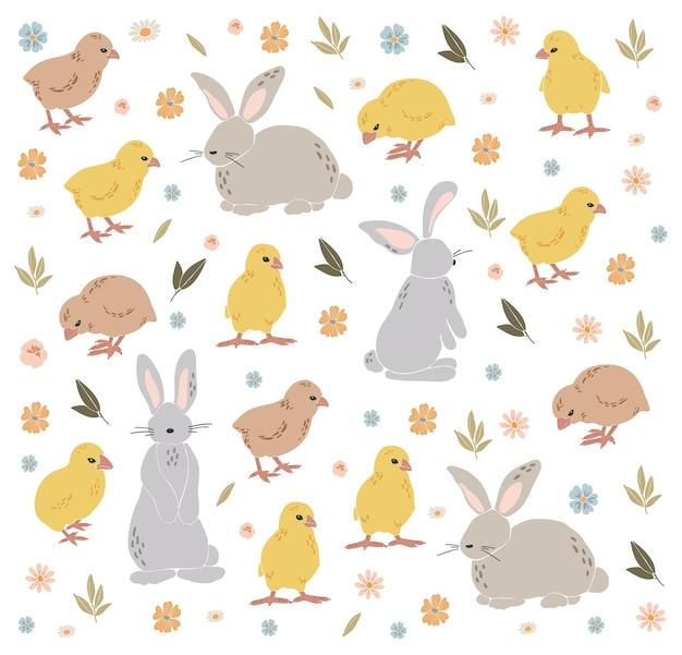 Abstracte pasen-kip en konijntje vastgestelde boho