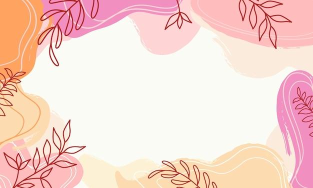 Abstracte pastel organische vormen achtergrond met bladeren texturen, memphis style