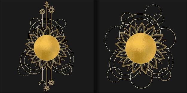 Abstracte patronen bezet met gouden zon, maanster en geometrische elementen