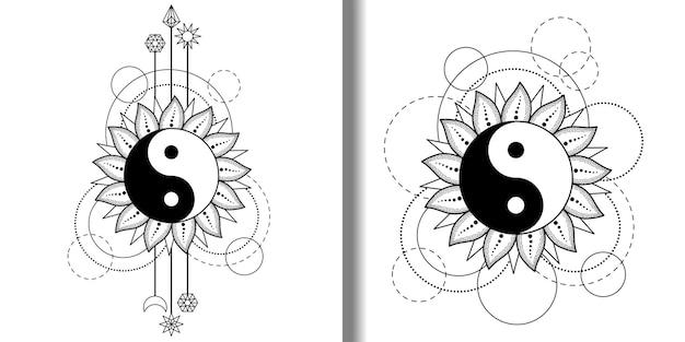 Abstracte patronen bezet met yin en yang zon, maanster en geometrische elementen