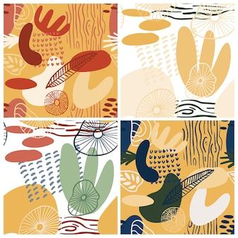 Abstracte patroon set met organische vormen in pastelkleuren groen, geel, roze. organische achtergrond met vlekken. collage naadloos patroon met aardtextuur. modern textiel, inpakpapier, kunst aan de muur