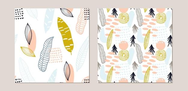 Abstracte patroon set met organische vormen in pastelkleuren mosterd, geel. organische achtergrond met vlekken. collage naadloos patroon met aardtextuur. modern textiel, inpakpapier, kunst aan de muur