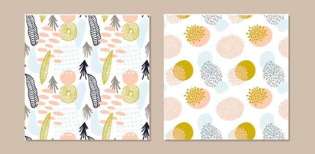 Abstracte patroon set met organische vormen in pastelkleuren mosterd, roze. organische achtergrond met vlekken. collage naadloos patroon met aardtextuur. modern textiel, inpakpapier, kunst aan de muur