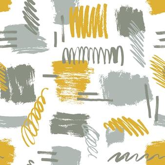Abstracte penseelstreken en gekrabbel naadloos patroon