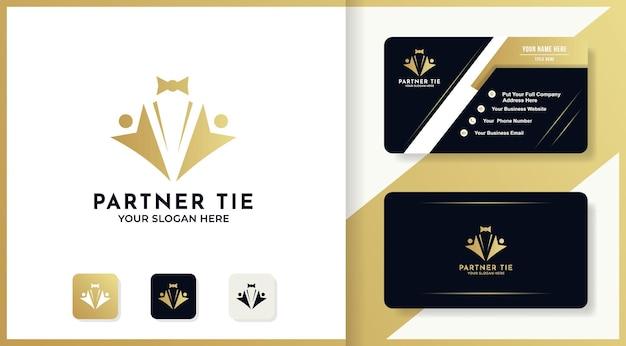 Abstracte persoon gebruik stropdas concept logo ontwerp en visitekaartje